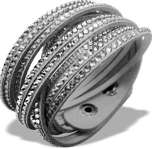 Details about Slake Crystal Wrap Bracelet made w/ Swarovski Crystal Gray  Alcantara ® Leather