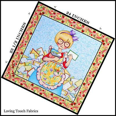 "MARY ENGELBREIT KITCHEN BLONDE GIRL COOK RECIPE CARDS FABRIC PANEL 23 1/2""X24"""