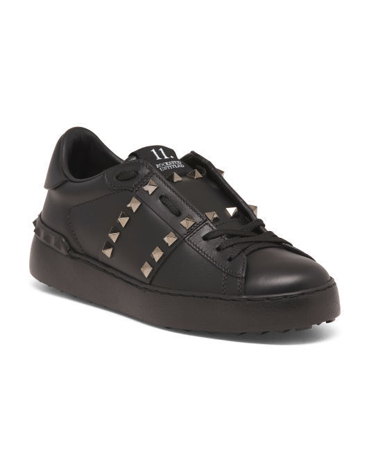 NWB VALENTINO Made In  Black Rockstud Leather Sneakers Sneakers Sneakers 35.5  795 Sold out 2d1287