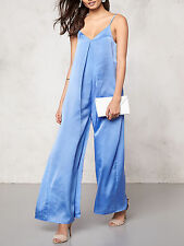 Pastel Blue Crepe Satin Relaxed Fit,wide leg Summer Jumpsuit Size 12 NEW SEASON