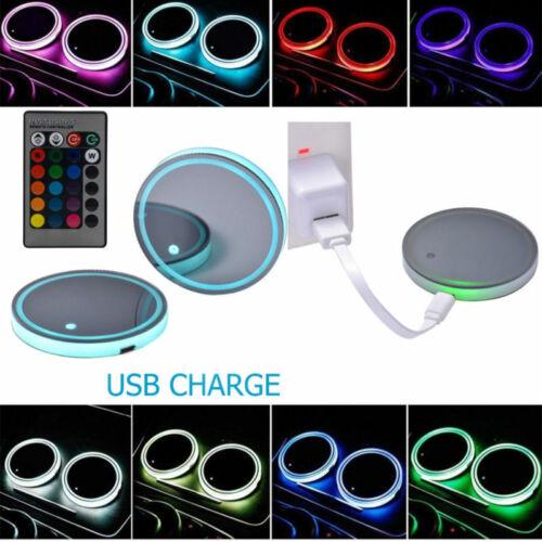 2stk 7 Farben LED Cup Holder Coaster Solar Powered Car SUV Bottom Pad Mat Lamp