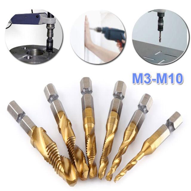 DI- 6Pcs M3-M10 Titanium Coated HSS 1/4 Hex Shank Screw Thread Tap Drill  Bits Ho for sale online
