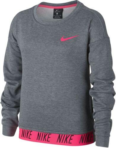 Nike Mädchen Fitness Trainng langarm Shirt DRY Crew Pro Core Studio Sweater grau