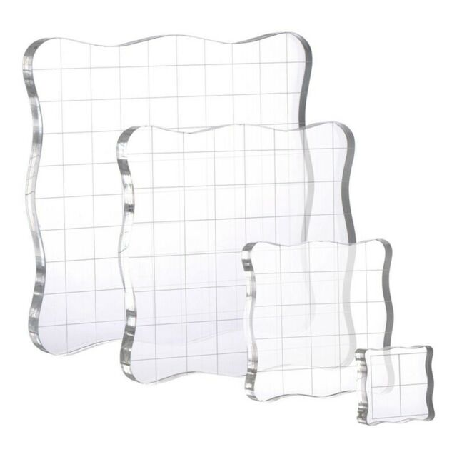 4Pcs/Set Stamps Pad Tools DIY Stamp Acrylic Block Pad with Grid Grip for D7F2