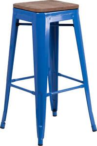 Outstanding Details About 30 Industrial Style Blue Metal Bar Height Stool With Wood Seat Inzonedesignstudio Interior Chair Design Inzonedesignstudiocom