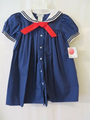 Petit Ami 2 Pc Sailor Dress w Bloomers 3060 Navy /& White 12 18 or 24M #10428