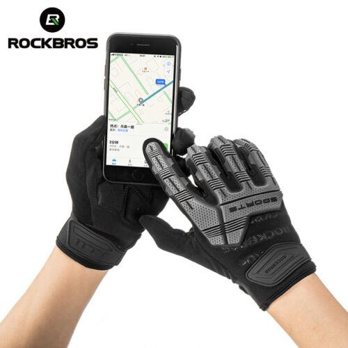 ROCKBROS Winter Motorcycle Cycling Long Full Finger Gloves Shockproof Gel Gloves