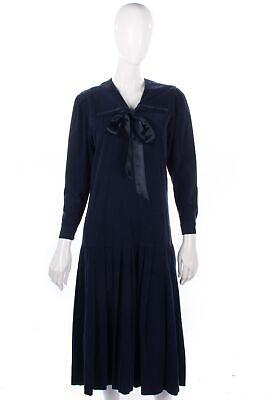 100% Vero Vintage Laura Ashley Cotone Blu Navy Cord Drop Waist Dress-