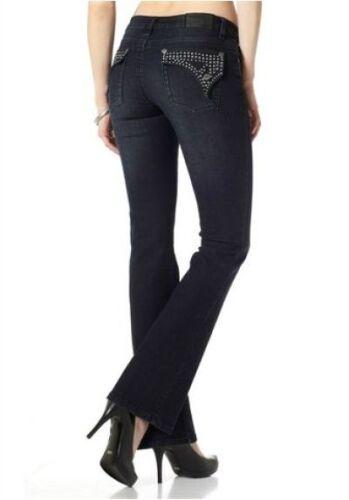 Arizona Jeans Gr.36 Damen Bootcut Samba Denim Hose Stretch Dark Blau Used L32