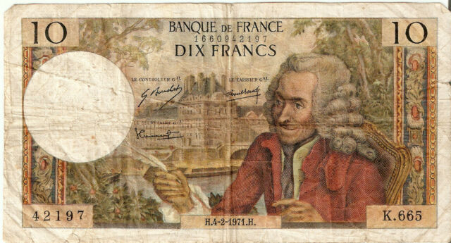 France: 10 Francs Voltaire 4-2-71 VF
