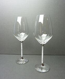 Pair of swarovski crystalline red or white wine glasses stemware formal elegant ebay - Swarovski stemware ...