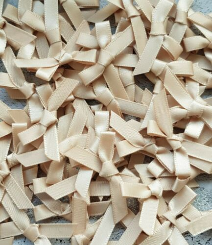 Beige Small Mini Satin Ribbon Bows Ready Made 7mm Wide Arts /& Craft Sewing