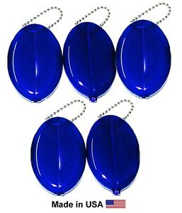 5 Blue Oval Squeeze Coin Purses units   New Vintage Coin Holders   Made in USA