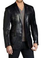 Mens Black Leather Blazer Slim fit Blazer Genuine jacket coat/blazer size S M L