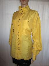 SERGIO DI LAURENTI Womens Vtg 80s Secretary Casual Yellow Silk Shirt sz 18 AE4
