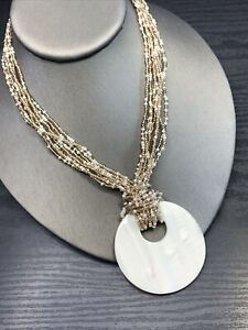 """Mother Of Pearl Pendant Pearl gold glass seed bead multi Chain Necklace 16-18"""""""