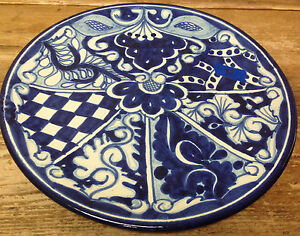 Image is loading Mexican-Pottery-Talavera-Plate-Wall-Decor-Blue-White- & Mexican Pottery Talavera Plate Wall Decor Blue White Floral Geo #F ...