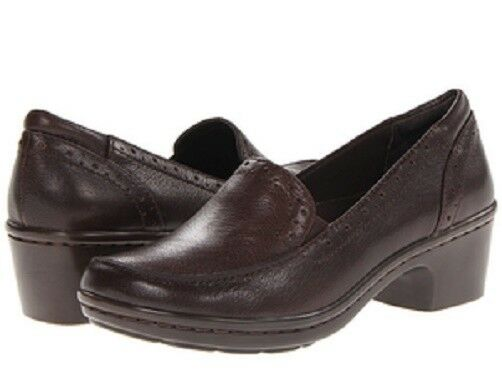 Easy Spirit Leoda loafer slip-on detailed dark brown soft leather 9.5 WIDE New