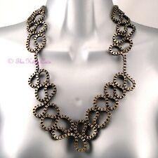 Vintage Burlesque Burnt Gold Box Chain Catwalk Fashion Steampunk Collar Necklace