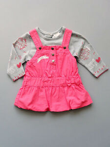 906c772f2 3 Pommes Baby Girls Pink Dress and Grey T Shirt Top Two Piece Set ...
