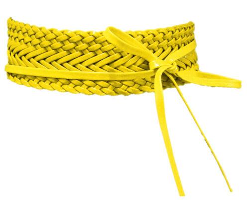 Flechtgürtel Kunstleder Gelb Wickelgürtel Bindegürtel Hüft Taillengürtel SA-602