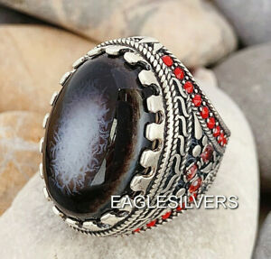 Handmade New eye Yemen Agate Stone 925 Sterling Silver Men/'s Woman/'s Ring 5