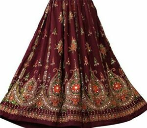 Women-Maxi-Skirt-Hippy-Sequin-Belly-Dance-Indian-Long-Skirt-Boho-Gypsy-Maroon