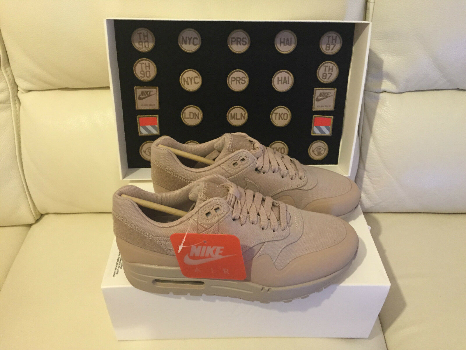 NIKE AIR MAX 1 PATCH noir SAND STEEL GREEN Taille 5 6 7.5 8.5 11  NEW