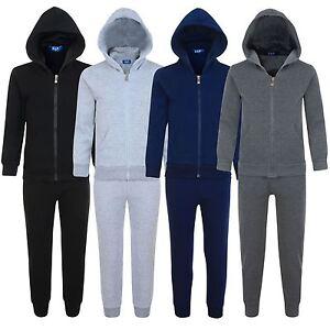 Kids-2-Piece-Fleece-Tracksuit-Plain-Jogging-Bottoms-Hooded-Top-Sizes-3-14-Years