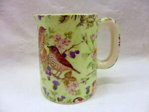 British-Birds-on-green-cream-jug-pitcher-jug-by-Heron-Cross-Pottery