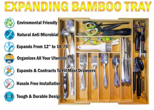 Bamboo Kitchen Drawer Organizer Expandable Silverware Organizer Utensil Holder