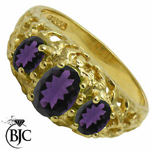 BJC-9ct-Yellow-gold-Amethyst-Vintage-3-stone-size-M-engagement-ring-R245