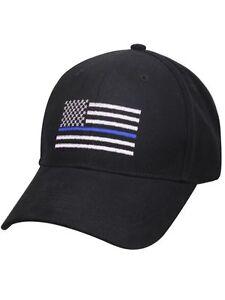 NEW! Thin Blue Line Hat Cap Police Lives Matter Black Blue One Size ... 7548f8459da