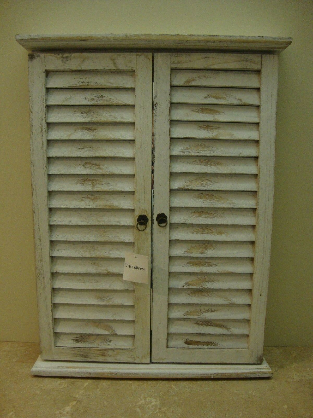 1 Shoreline Distressed Window Mirror With Shutters Wall Hanging Nwt