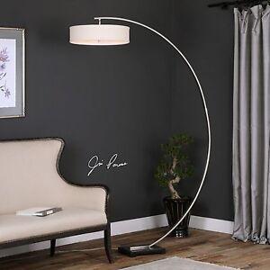 Details About Modern Designer 82 Curved Brushed Nickel Metal Floor Lamp Hanging Shade