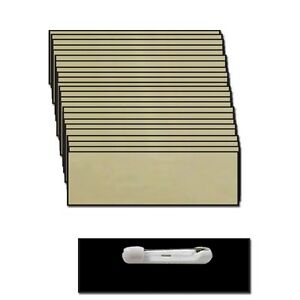 25 BLANK 1 X 3 GOLD NAME BADGE KIT (A) TAGS BEVELED SAFETY PINS CLEAR LABELS