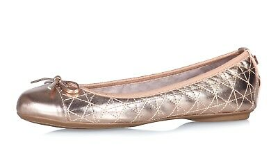 Butterfly Twists Olivia Patent Toe Bow Folding Ballerina Pumps Rose Gold Navy