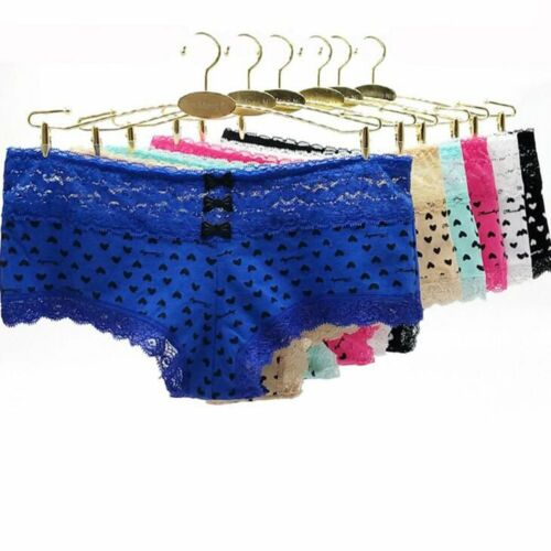 Pack of 6 Womens Cotton Heart Printed Boxers Underwear Shorts Knickers Panties