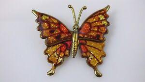 Vintage-Enamel-Butterfly-Brooch-Pin-Orange-Amber-Brown-Glitter-Gold-Tone-Metal