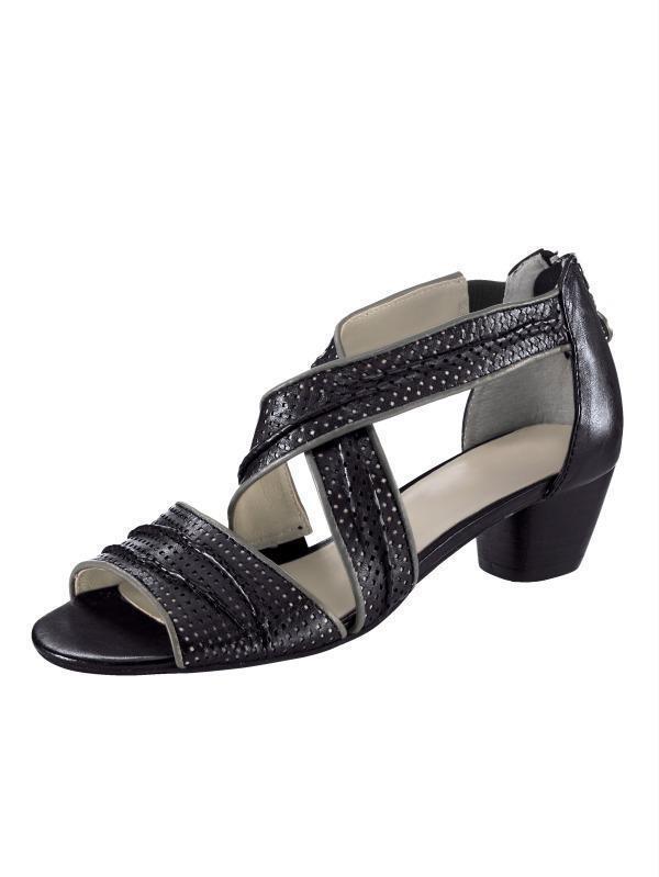 Zapatos señora zapatos sandalias de cuero decorado de Gerry Weber (7,5)