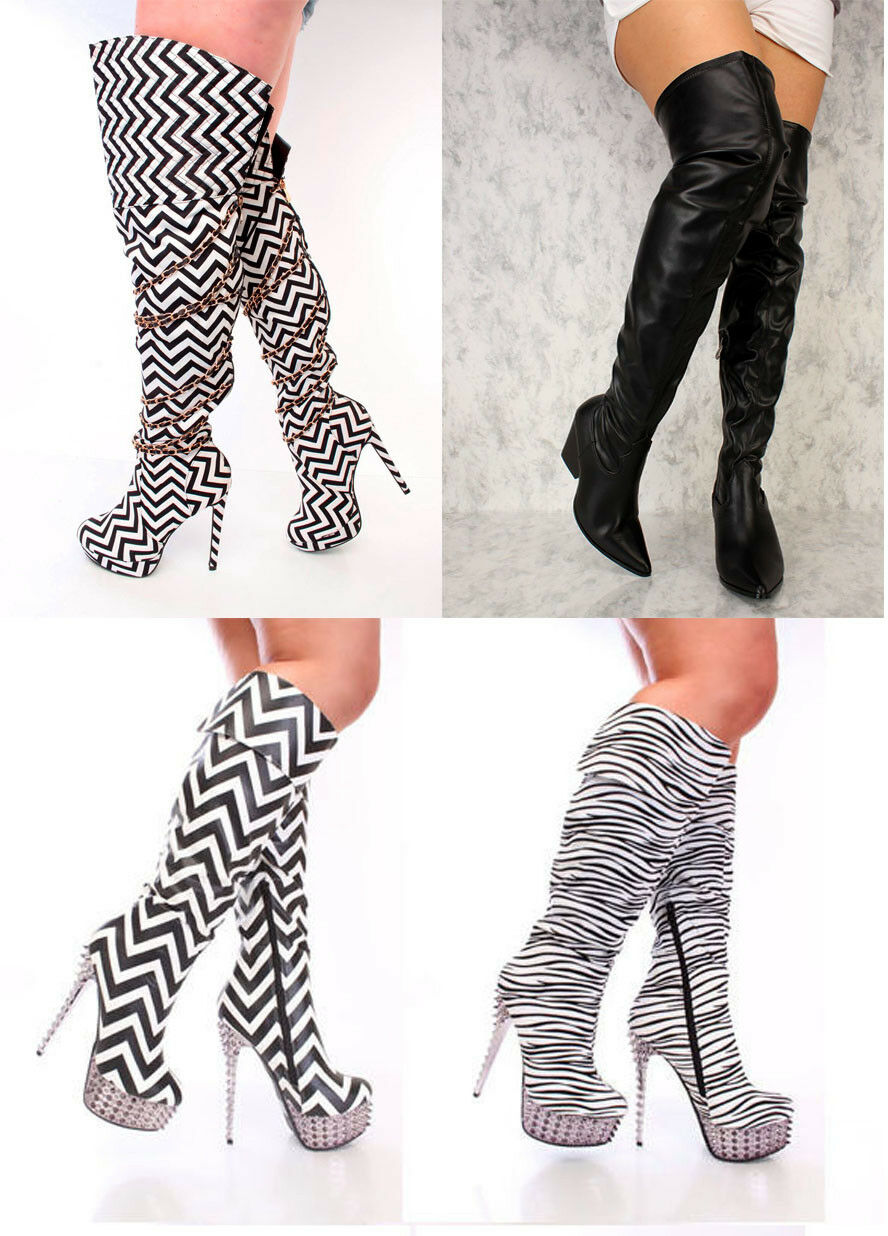 Lot Black Animal Print Spiked Knee High Boots Faux Leather Suede Stilletos shoes