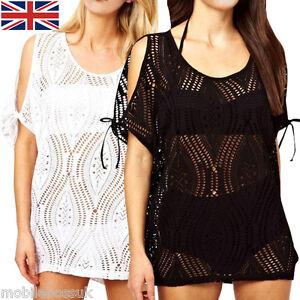 UK Women Crochet Lace Beach Dress Cover Up Kaftan Sarong Summer Swimwear Bikini