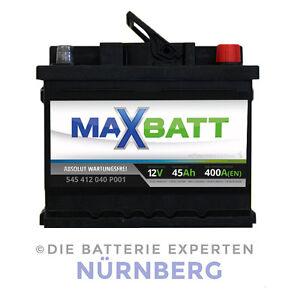 maxbatt autobatterie 12v 45ah 400a mb45 ma e 207x175x190mm. Black Bedroom Furniture Sets. Home Design Ideas