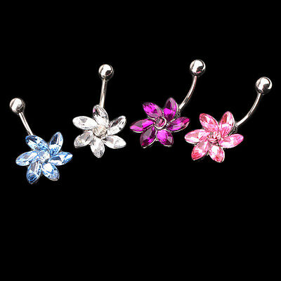 New Fashion Chrysanthemum Navel Belly Button Ring Bar Body Piercing For Gift