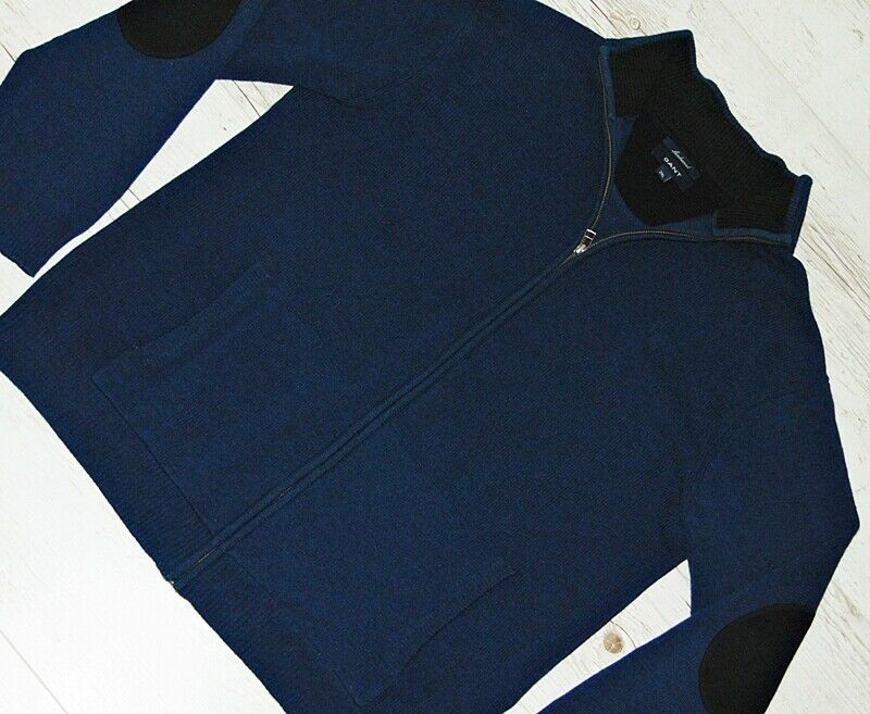 EXTRA  GANT USA 100% WOOL Blau ZIP CARDIGAN ELBOW PATCH Größe 2XL