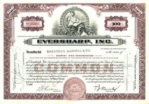 1963-1965-100-SHARES-EVERSHARP-CORPORATION-COMMON-STOCK-CERTIFICATE