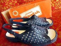 Sz 9 True Vtg 70s Womens Blue Rubber Strappy Mexican Sandals Sandak 25cm
