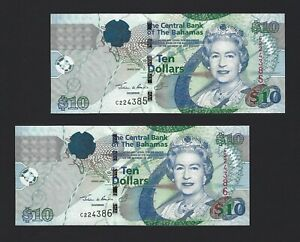 Hybrid A1 Unc 2 Pcs Pair 2017 Consecutive Solomon Islands 10 Dollars P-New