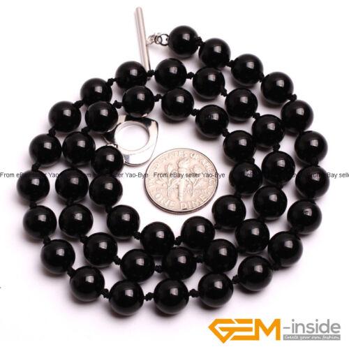Handmade Natural 6-12 mm Noir Tourmaline Round Gemstone un collier de perles 18 in environ 45.72 cm