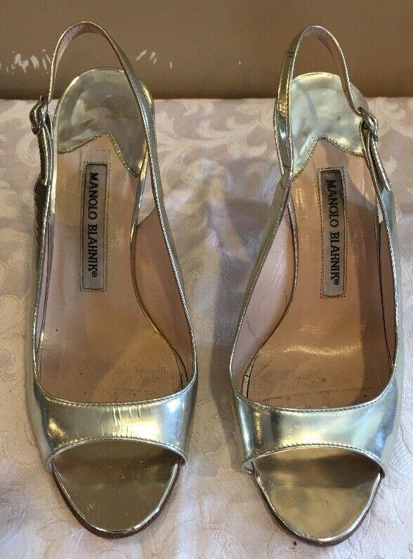 Manolo Blahnik Sandales,  Sling Silver, open toed Sandales, Blahnik Größe 36 fe554b